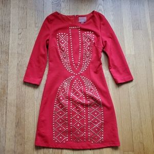 I.Madeline red bodycon dress with studs S